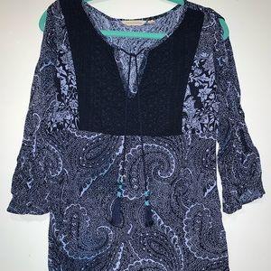 Soft Surroundings Blue Paisley Print Tunic Dress